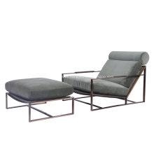 Milo Baughman Fabric Accent Chair com otomano