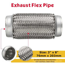 """Exhaust Flex Pipe Double Braided with Stainless Steel Wires 3""""X8"""" 76X203mm"""