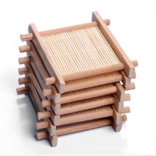 Melhor venda de bambu de madeira com coaster cup em anexo