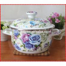 pote de esmalte chinês personalizado caçarola impressa