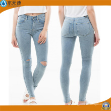 Jeans de jean de mujer de diseño de cintura alta Jeans de mujer rasgada