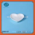 Prato de forma de coração de porcelana, prato de lanche de cerâmica, prato de forma de coração, prato de cerâmica