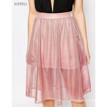 Металлические миди дамы юбка для женщин