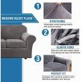 Velvet Plush High Stretch Slipcover Strap Sofa Cover