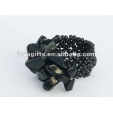obsidian Chip stone Stretch Seed Glass beads Ring