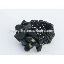Obsidian Pedra Chip Stretch Seed Grânulos de vidro Anel