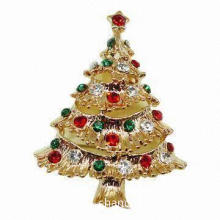 Sparkly Metal Brooch in Christmas Tree Design, Decorated with Colorful Diamonds