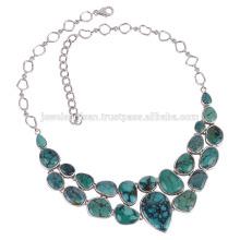 Tibetische Türkis und 925 Silber Chunky Halskette