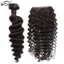 8А девственница необработанные 40 дюймов человеческих волос 360 кружева Фронтальная закрытие