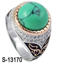 Novo modelo 925 prata esterlina micro ajuste homens anel turquesa com linha (s-13170)