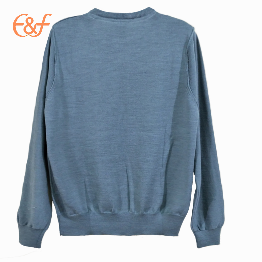 Mens Blue Plain Mercerized Wool Sweater back look