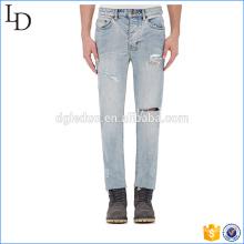 Denim azul jeans cintura alta joelho buraco jogger calças estilo para homens