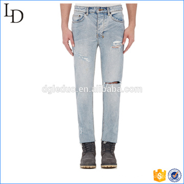 Denim blue high waisted jeans knee hole jogger pants style for men