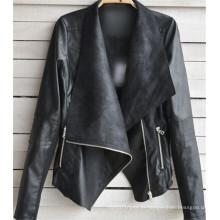 Casaco de couro da motocicleta do revestimento das mulheres do inverno