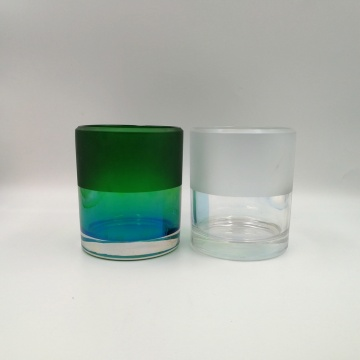 Large size volume candle glass jar with matte color finish