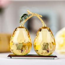 Élégant artisanat de poire en verre cristal K9 d'or pour la décoration