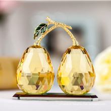 Elegant Golden K9 Crystal Glass Pear Craft for Decoration