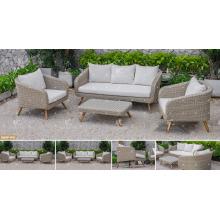 COLLECTION CANARIENNE - 2017 Ensemble de canapé Poly Rattan PE de dernière conception avec pattes de bois en acacia / teck pour meubles de jardin extérieur