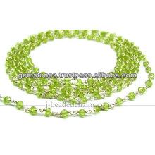 Sterling Silver Natural Paridot Rondelle Faceted Beaded Chain, Venda Por Atacado Gemstone Jewelry Supplier