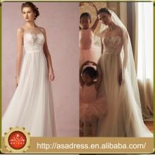 BHD06 Romantische A-Linie Illusion Ausschnitt böhmische Tüll Braut Brautkleider Vestidos de Novia