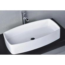 Bassin de pierre blanc brillant pour salle de bains (BS-8305)
