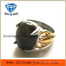 Fashion Black Stone Bijoux Pendentif Bague en fonte