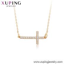 44814 Gros bijoux de mode religion collier 18k couleur or croix collier avec clé