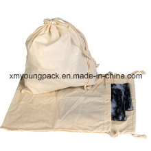 Kundenspezifische 100% natürliche Baumwoll-Kaliko-Tuch-Wäsche-Beutel mit Drawstring