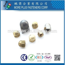 Taiwan Stainless steel 18-8 Chrome plated steel Nickel plated steel Copper Brass Hexagon Domed Cap Nuts