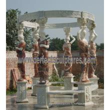 Tente de jardin en pierre de marbre pour meubles extérieurs anciens (GR067)