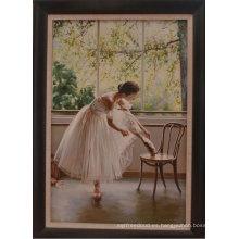 Pintura al óleo hecha a mano hermosa de la bailarina