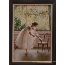 Pintura a óleo Handmade bonita da bailarina