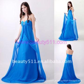 Astergarden Real Photo Strapless Beading Andar Comprimento Blue Evening dress AS156