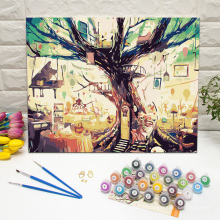 DIY Framed Wall Art for Living Room Paint by Numbers Tree House