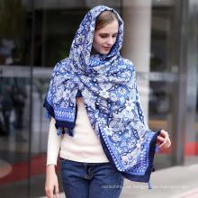Algodón de la manera de invierno largo mantón mujeres hiyab estampado de flores cálidas bufanda de la impresión