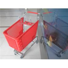 Supermarkt-blaue Plastikeinkaufswagen