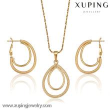 62676-Xuping Mode stilvolle Frau Schmuck-Set, einfache Gold Schmuck-Set-Design