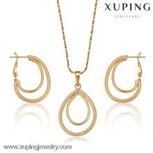 62676-Xuping Fashion élégant ensemble de bijoux de femme, conception simple de bijoux en or