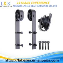 Rodillo de suspensión con recubrimiento en polvo de color negro para el hardware de suelo ajustable de hardware de la puerta corrediza de Barn