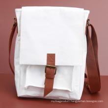 White Kraft Paper Crossbody Bag Spacious Shoulder Bag For School