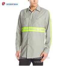 Venda quente 65% Poliéster 35% Algodão Manga Longa Marinha / Cinza Segurança Reflexivo Visível Alto Botão Camisas para a Indústria de Desgaste