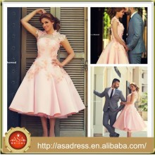 SMA54 Mejor Diseño Té Longitud Dubai Appliqued Color Recepción Rosa Alto Collar Short Wedding Dress 2015