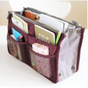 Organizador de alta calidad promociones dama insertar bolsa bolso viaje en organizador de bolsa con colores de bolsas 13 bolsillos del almacenaje