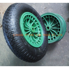 rubber wheel with plastic rim.