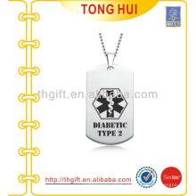 Impressão de logotipo prata cão etiqueta colar fornecedor imitação de jóias