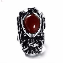Nuevo diseño personalizado de anillo de dragón de promesa de grabado para hombres
