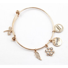 Gold Plating Bangle with Custom Charms