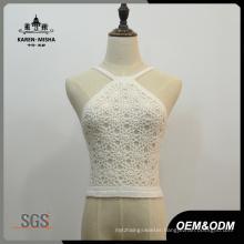 Women High Neckline and Spaghetti Strap Crochet Swimwear
