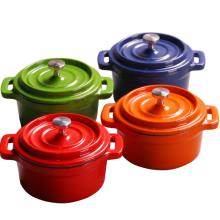 Accesorios verdes de la cocina del arrabio del esmalte de la mini cazuela / pote