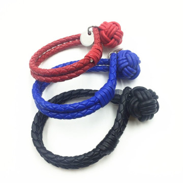 Desain Trendy Kustom Monkey Fist Knot Leather Bracelet